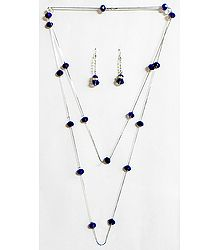 Dark Blue Crystal Bead Necklace Set
