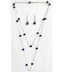 Dark Blue Crystal Bead Necklace Set