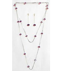 Dark Purple Crystal Bead Necklace Set