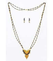 Black and Golden Bead Gold Plated Mangalsutra with Earrings