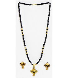 Black Crystal and Gold Plated Bead Mangalsutra with Earrings