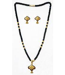 Black Crystal Mangalsutra with Gold Plated Balls and Pendant with Earrings