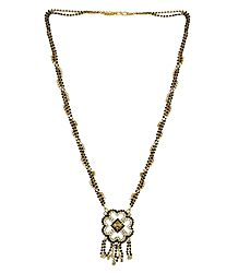 Black Stone Studded and Gold Plated Mangalsutra with Pendant