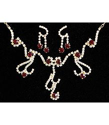 Maroon and White Stone Studded Necklace and Earrings
