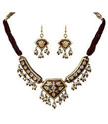 Maroon Bead Necklace with Meenakari Pendant & Earrings