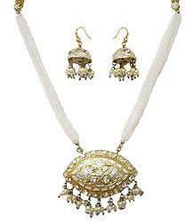 White Bead Necklace with Meenakari Pendant & Earrings