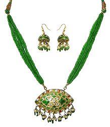 Green Bead Necklace with Meenakari Pendant & Earrings