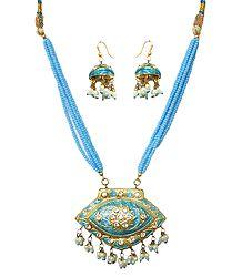 Blue Bead Necklace with Meenakari Pendant  & Earrings