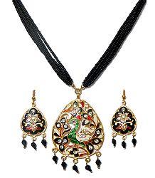 Black Beaded Meenakari Peacock Necklace Set
