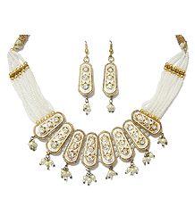 White Bead and Lac Meenakari Necklace Set