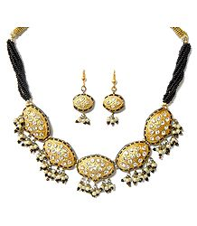 Golden with Black Beads & Lac Meenakari Necklace Set
