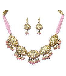 Golden with Pink Beads & Lac Meenakari Necklace Set