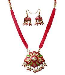 Red Meenakari Pendant with Earrings - Buy Online
