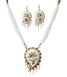 White Bead Necklace with Metal Meenakari Pendant and Earrings