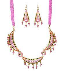 Pink Beaded Adjustable Meenakari Necklace with Earrings