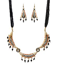 Black Beaded Adjustable Metal Meenakari Necklace with Earrings