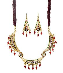 Maroon Beaded Adjustable Metal Meenakari Necklace with Earrings