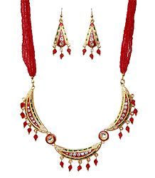 Red Beaded Adjustable Meenakari Necklace Set