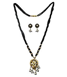 Black Bead Necklace with Lac Meenakari Pendant and Earrings