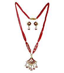 Red Bead Necklace with Lac Meenakari Pendant and Earrings