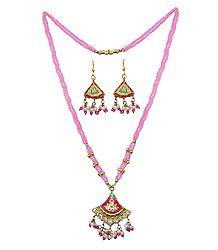 Bead Necklace with Lac Meenakari Pendant and Earrings