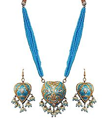 Blue Bead Necklace with Meenakari Pendant and Earrings
