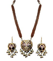 Adjustable Bead Necklace with Brown Lac Meenakari Pendant and Earrings
