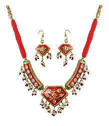 Red Bead Necklace with Meenakari Pendant and Earrings