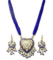 Blue Bead Adjustable Necklace with Lac Meenakari Pendant and Earrings