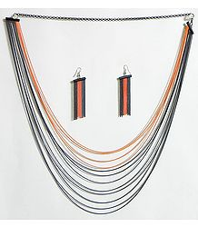 Four Layer Saffron Color and Eight Layer Black Color Metal Necklace and Earrings