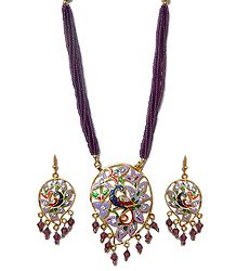 Mauve with Golden Meenakari Peacock Necklace Set