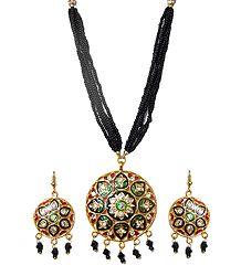 Shop Online Black Beaded Meenakari Necklace Set