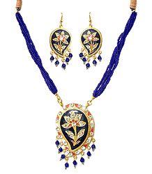 Blue Bead Necklace with Metal Meenakari Pendant & Earrings