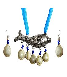 Metal Fish Pendant and Cowrie Earrings with Adjustable Cyan Blue Ribbon