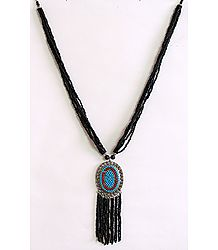 Midnight Elegance - Black and Blue Bead Necklace