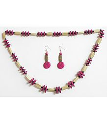 Beige with Dark Magenta Wooden Beads and Natural Seed Necklace and Earrings