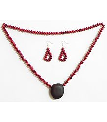 Red Wooden Beads and Natural Seed Necklace and Earrings