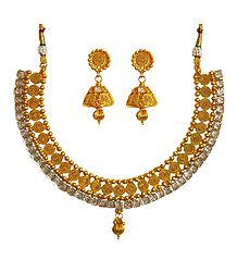 White Stone Studded Golden Necklace Set