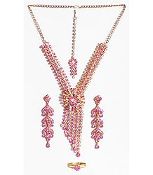 White with Pink Stone Studded Necklace, Earrings, Ring and Mang TIka