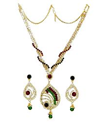 White,Maroon and Green Stone Studded Necklace and Earrings
