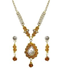 White Stone Studded Golden Necklace and Earrings