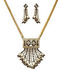 Black and White Stone Studded and Gold Plated Necklace Set with Jhalar Pendant