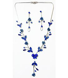 Faux Saphire Studded Necklace with Blue Metal Roses with Post Earrings