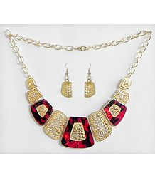 Carved Oxidised Metal Plate with Red and Black Lacquered Necklace with Earrings