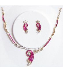 Faux Zirconia and Ruby Stone Studded Necklace and Earrings
