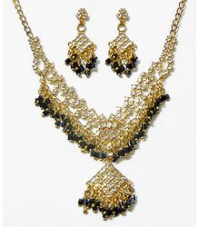 White Stone Studded Necklace Set with Black Beads