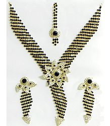 Black and White Stone Studded Necklace, Earrings and Maang Tikka