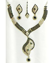 Dark Green and White Stone Studded Necklace, Earrings and Maang Tikka