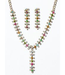 Multicolor Stone Studded Oxidised Metal Party Necklace with Earrings