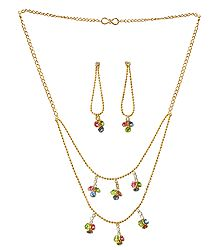Multicolor Stone Studded Two Layer Golden Necklace and Earrings